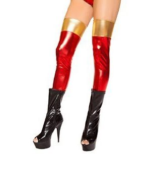 Red With Gold Band Superhero Leggings