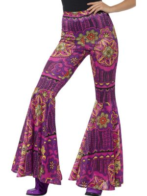 Flared Trousers, Ladies, Pink, Psychedelic #45166