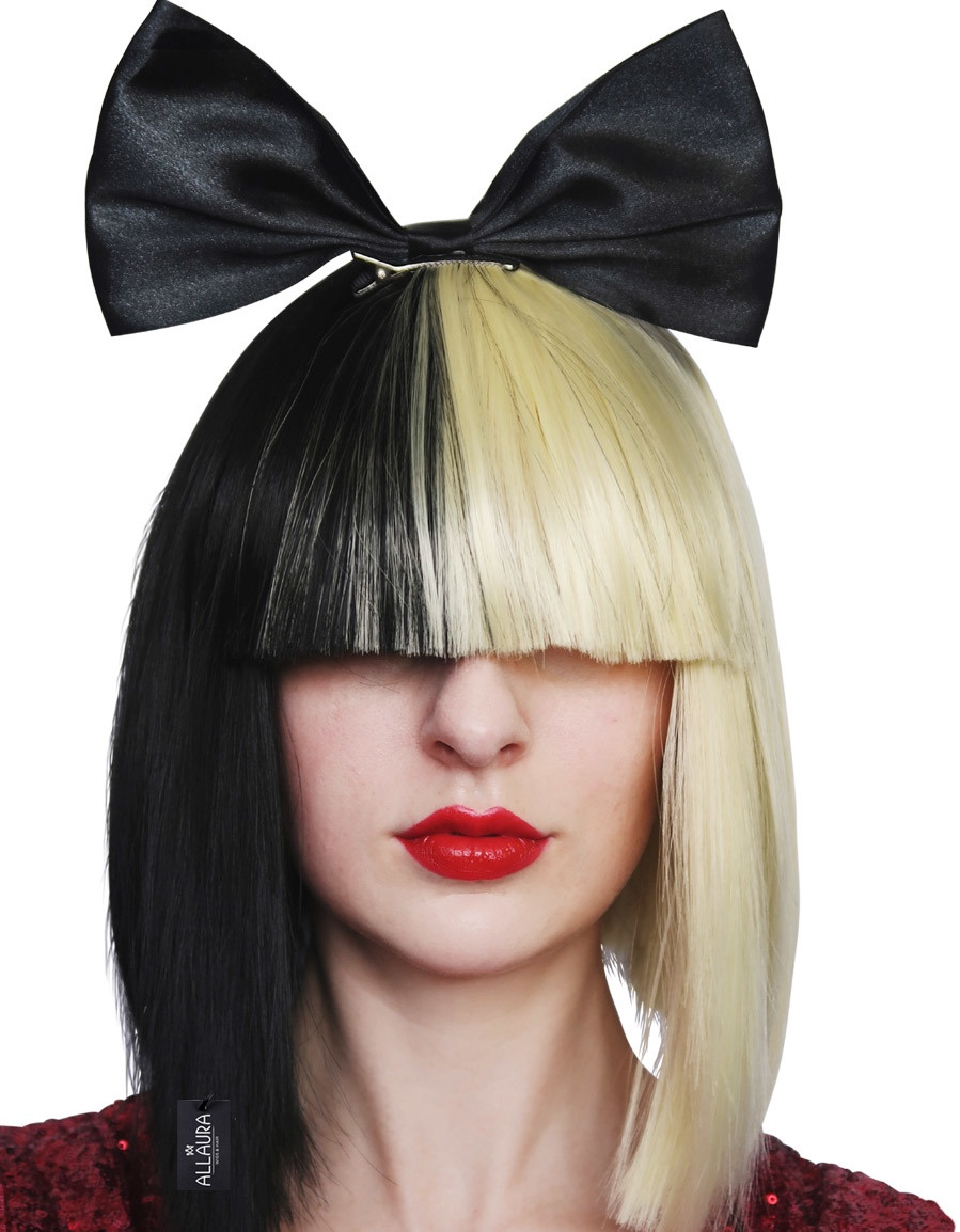 Pop Empress (Sia) Wig with Black Bow Half Blonde and Black Womens ... 7c373f09a