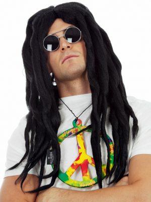Rasta Dreadlocks Hippie Black Bob Marley 60s 70s Costume Wig - unisex - by Allaura - #9311