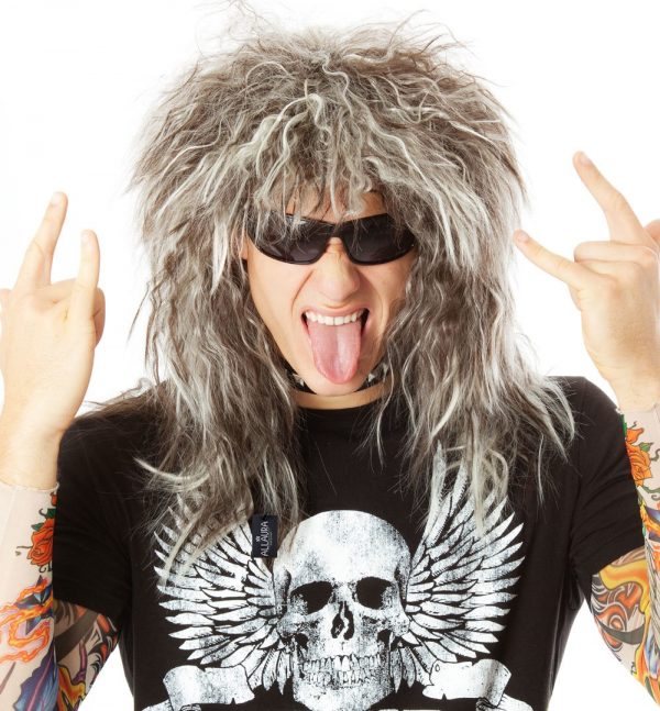 80's Glam Rock God Mens Rocker (Bon Jovi) Costume Wig with Tattoo Sleeves by Allaura - 9304