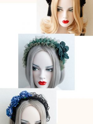 Headband Flower Ruched Mesh Hair Clasp Décor Festival Wear - Blue Rose Lace