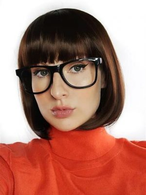 Velma Scooby Doo Brown Bob Costume Wig & Glasses - by Allaura 9336